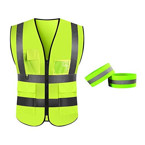 LAITER 1PCS Giubbotto Riflettente Sicurezza con Tasca+1 PCS Fascia Riflettente Sicurezza Verde Fluorescente Alta Visibilità per Traffico Lavoro Ciclismo Auto Moto Stradale