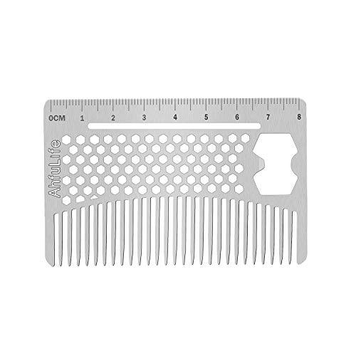 Metallkamm und Bartkamm EDC-Kamm im Kreditkartenformat Perfekt für Brieftasche und Tasche - Antistatischer Bartkamm mit Doppelseitiger Kamm (Multifunctional metal comb)