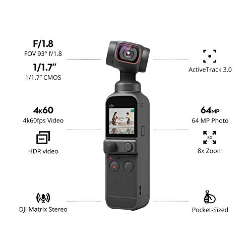 """DJI Pocket 2 Creator Combo - 3 Axis Gimbal Stabilizer with 4K Camera, 1/1.7"""" CMOS, 64MP Photo, Pocket-Sized, ActiveTrack 3.0, Glamour Effects, YouTube TikTok Video Vlog, for Android and iPhone, Black"""