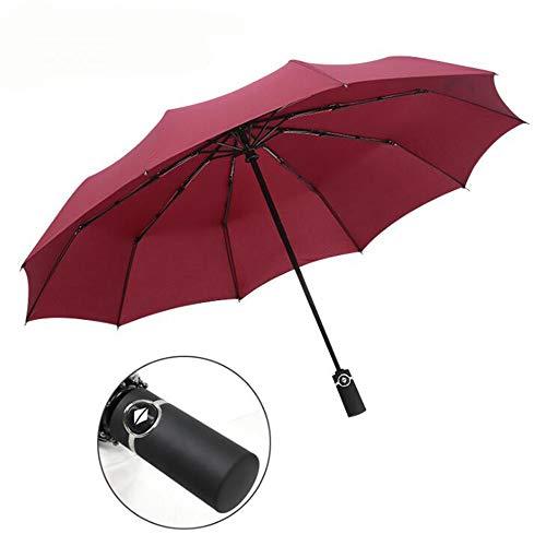 Yi-xir Experiencia Confortable Hombres y Mujeres Totalmente Robots Plegables Plegables 30% Paraguas de Negocios Paraguas de Viaje Compacto (Color : Wine Red)