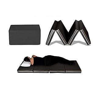 Evergreenweb – Futón cama colchoneta ahorraespacio plegable en 4 y convertible en práctico puf. Colchón individual de 10 cm. Funda extraíble y apto para utilizar con cualquier somier - Galaxy Plus