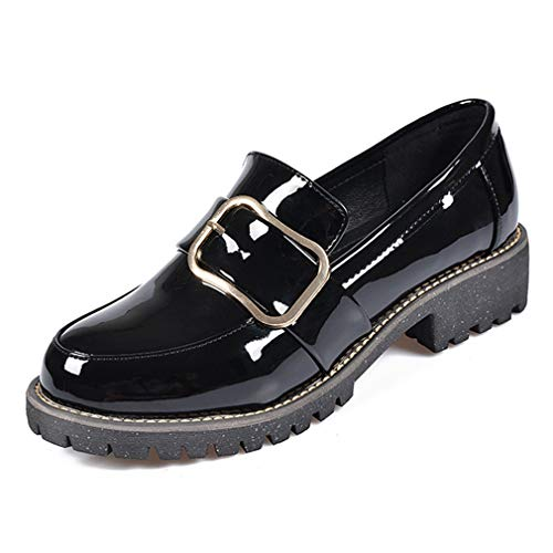 Women's Slip On Oxford Loafers Patent Leather Round Toe Platform Low Heel Dress Shoes Black