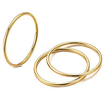 NOKMIT 3PCS 1mm 14K Gold Filled Rings Stacking Rings for Women Girls Stackable Thin Gold Ring Plain Statement Band Comfort Fit Size 5 to 10