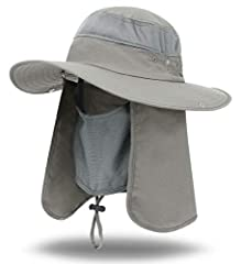 This iColor Wide Brim UV Sun Protection Finshing Hats Sun Cap with Windproof Face Masks Visors for men and women with Flaps (Flaps are removable), Complete Sun UV Protection & Back flap provides great protection from the sun; Hat Circumference Approx...