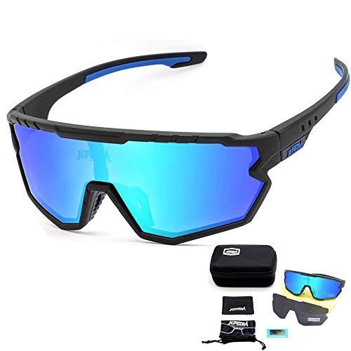 TOPTETN Sportbrille Fahrradbrille Herren und Damen,3 Austauschbare Linse Sportbrille für Outdooraktivitäten wie Radfahren Laufen Angeln Klettern Radsport Brillen(Schwarz und blau)