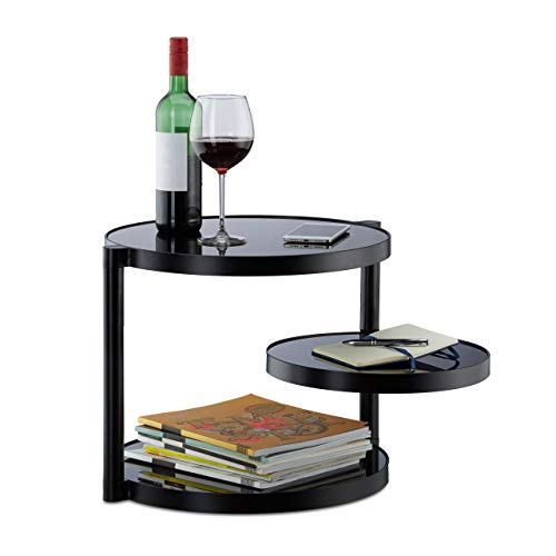 Relaxdays Glas Couchtisch mit 3 Ablagen, runder Beistelltisch, niedriger Luxus Glastisch HxBxT: 39 x 52 x 45 cm, schwarz