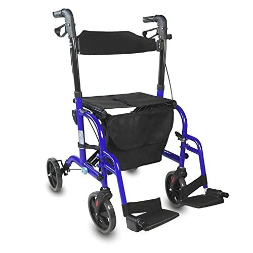 Mobiclinic, Modelo Picasso, Andador para mayores, minusválidos, adultos o ancianos, rollator, caminador, andador y silla de ruedas, aluminio, ligero, plegable, con asiento y 4 ruedas, azul 🔥
