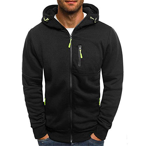 Yowablo Sweater Tops Bluse Herren Winter Splice Cap mit Langarm mit Reißverschluss (L,3Schwarz)