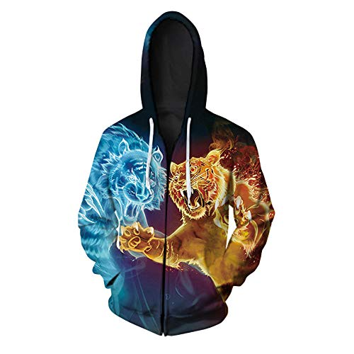 3D Sweater Pullovers/Hoodies 3D Printed Tiger/Lion Sweater Autumn and Winter Plus Size Cardigan Zipper Hoodie Casual Baseball Uniform Gift,L