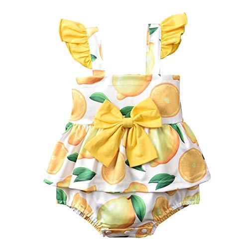 Bebé recién nacido bebé verano mameluco sandía/limón impresión volantes sin mangas mono niño niña bodysuits de una sola pieza ropa