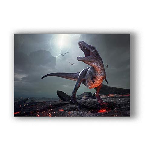 wzgsffs Póster E Impresiones De Dinosaurio Jurassic Park, Arte De Pared, Impresión En Lienzo para Sala De Estar, Hogar, Dormitorio, Café Decorativo, 24X32 Pulgadas X 1 Sin Marco