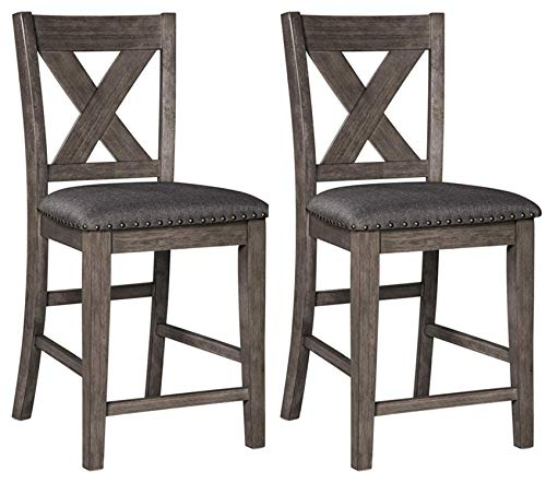Signature Design by Ashley Caitbrook Upholstered Stool Set of 2, Nailhead Dark Gray and Rustic Wood