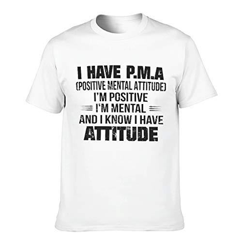 Weich Herren T-Shirt Ich Habe PMA Positive mentale Einstellung Druck Sarkastisch Unterhemd White XL