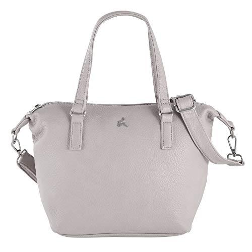 Prato Kurzgrifftasche Olivia PRE | schicke Handtasche für Damen | mit abnehmbaren Schulterriemen | aus hochwertigem Lederimitat (grey)