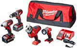Milwaukee 2695-24 M18 18V Cordless Power Tool Combo Kit with Hammer Drill, Impact Driver,...