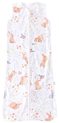 Chilsuessy Sommerschlafsack Baby Schlafsack Kleine Kinder Schlafanzug ohne Ärmel für Sommer und Frühling 100% Baumwolle (150/Baby Höhe 140-160cm, Süß Kaninchen)