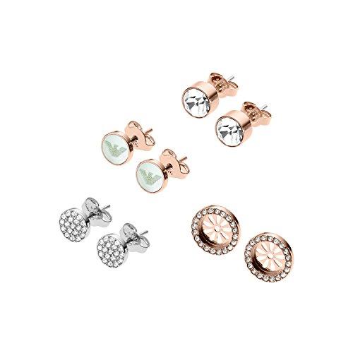 Emporio Armani Pendientes de botón de mujer con acero inoxidable