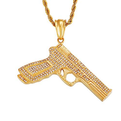 HIJONES Espumoso Helado Zirconia Cúbica Pistola Colgante Collar para Hombre Acero Inoxidable 18K Oro con Giro Cadena