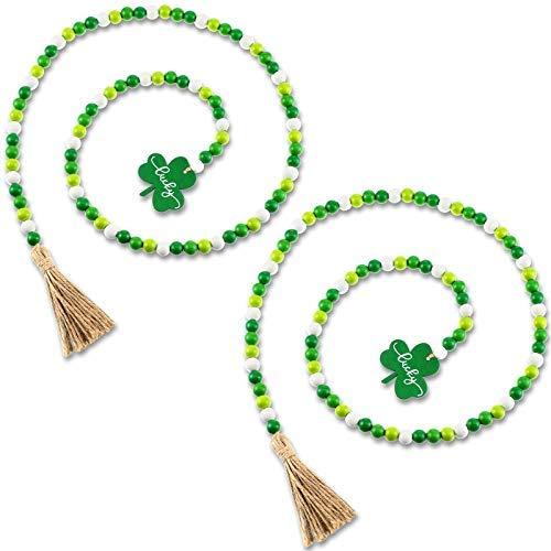 Guirnalda de cuentas de madera con borlas de San Patricio Boho rústica, guirnalda de cuentas verde trébol irlandés nudo verde