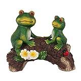 Baoblaze Lindo Creativo Doble Rana en el Puente Escultura de jardín figurita Villa Estanque Decoración