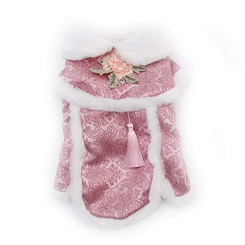 JIABAN Disfraz de perro Tang con patrn de peona para mascotas, abrigo de invierno feliz ao nuevo disfraz Qipao