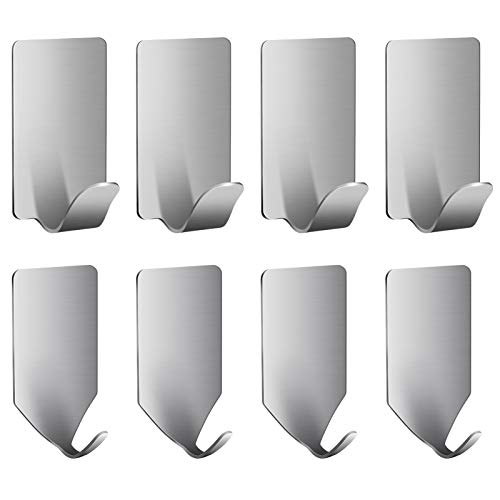 Adhesive Hooks, Heavy Duty Wreath Hanger Wall Hooks Hat Organizer Hat Rack Stainless Steel Waterproof Kitchen Bathroom Towel Hooks for Hanging Coats, Wreath, Hat, Towel, Keys, Bags (8 Pack)