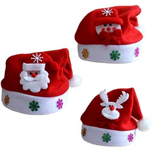 Sombrero De Navidad Sombrero De Santa3 Piezas De Sombreros Navideños para Niños No Tejidos, Apliques De Dibujos Animados, Sombrero con Patrón De Nieve De Ciervo De Papá Noel Artículos Navideños