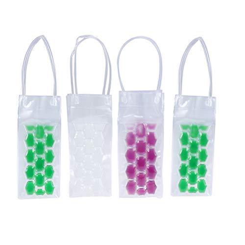Angoily 4 piezas de plástico bolsa de enfriamiento de PVC doble cara bolsa de vino de hielo bolsa de mano portátil para bar fiesta Favor color al azar suministros de fiesta
