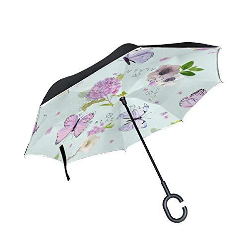 ISAOA großer umgekehrter faltbarer Regenschirm, doppellagig, winddicht, UV-Schutz, Regenschirm für Auto, Regen im Freien, C-förmiger Griff, selbststehend, Blumen und Schmetterlinge