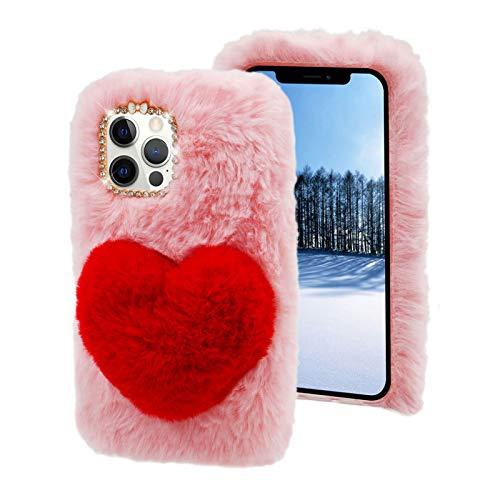 Plüsch Liebe Hülle für Xiaomi Redmi Note 9,MOIKY Niedlich Kunstpelz Herz Pom 3D Kristall Strass Stoßfest Schutzhülle mit Gratis Schutzfolie Flauschige Handyhülle für Xiaomi Redmi Note 9,Rosa&Rot