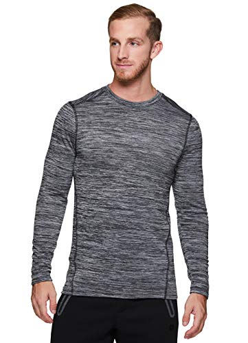 RBX Active Men's Athletic Performance Fleece Lined Thermal Long Sleeve Crewneck Fitted Base Layer T-Shirt F19 Grey S