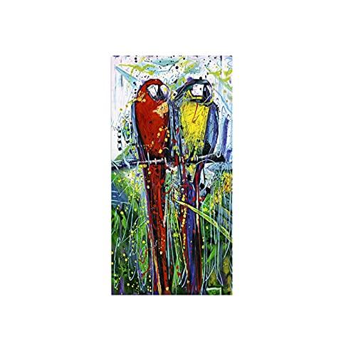 Print op canvas Wanddecoratie schilderij dieren twee papegaaien kleurrijke fotos kunst doek schilderij posters en prints woondecoratie 70x140cm/27.6x55.1 Frameloos