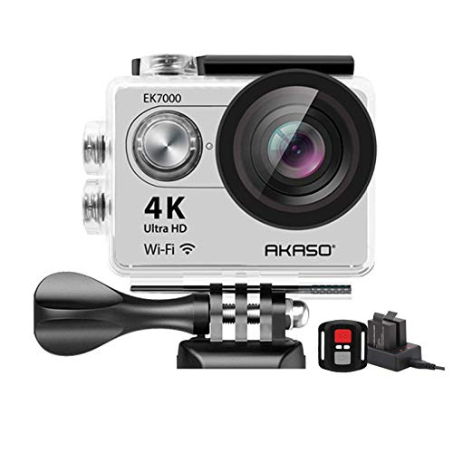 AKASO EK7000 4K WiFi Sports Action Camera Ultra HD Waterproof DV Camcorder 12MP 170 Degree Wide Angle (Silver)