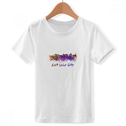 DIYthinker Jungen Salt Lake City Amerika Stadt Aquarell Crew Hals Weißes T-Shirt X-Groß Mehrfarbig