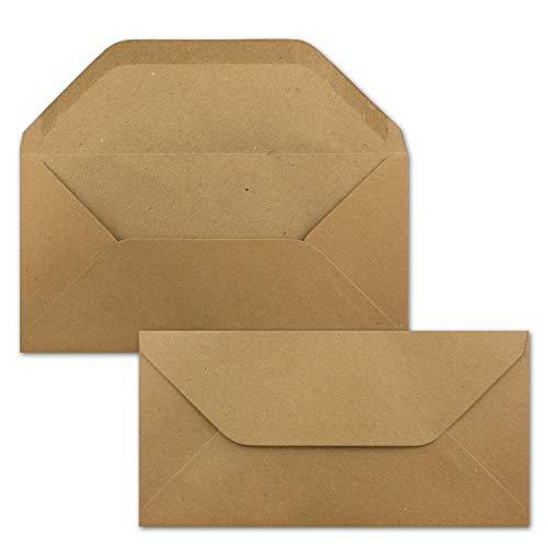 75x Kraftpapier Umschläge DIN Lang - Braun ÖKO - Nassklebung 11 x 22 cm - 120 g/m² Trapez-Verschluss - Vintage Kuverts - von NEUSER PAPIER