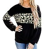 SHIZUANYUE - Jersey de manga larga para mujer, cuello redondo, para otoño e invierno, estampado de leopardo, informal, cálido, elegante, para invierno, con costuras de leopardo, Negro , M