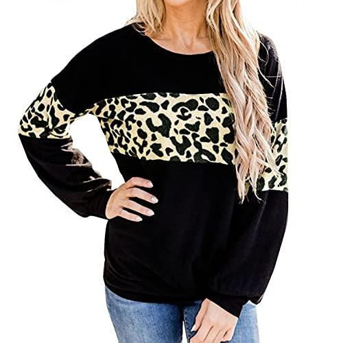 SHIZUANYUE - Jersey de manga larga para mujer, cuello redondo, para otoño e invierno, estampado de leopardo, informal, cálido, elegante, para invierno, con costuras de leopardo, Negro , XL