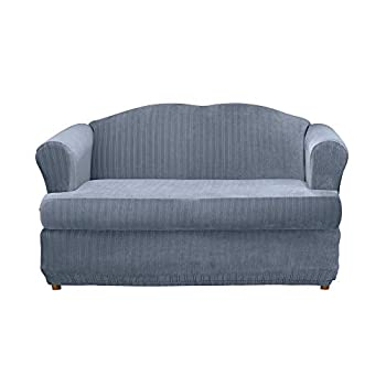 Surefit Stretch Pinstripe T-Cushion Loveseat Two Piece Slipcover Form Fit Polyester/Spandex Machine Washable French Blue Color
