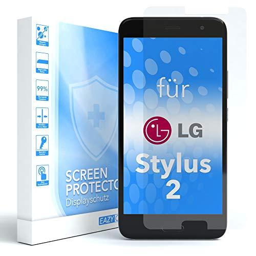 EAZY CASE 1x Panzerglas Bildschirmschutz 9H Festigkeit für LG Stylus 2, nur 0,3 mm dick I Schutzglas aus gehärteter 2,5D Panzerglasfolie, Bildschirmschutzglas, Transparent/Kristallklar