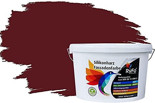 RyFo Colors Silikonharz Fassadenfarbe Lotuseffekt Trend Weinrot 10l - bunte Fassadenfarbe, weitere Rot Farbtöne und Größen erhältlich, Deckkraft Klasse 1