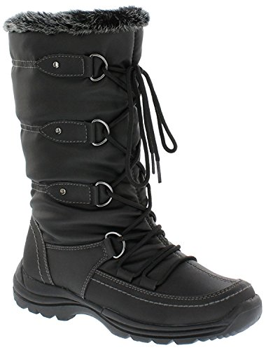 Weatherproof Womens Snow Boots with Lace-Up Closure (Moria) All-Weather Waterproof Insulated Winter Boots Built for Comfort, Keep Feet Warm & Dry Black