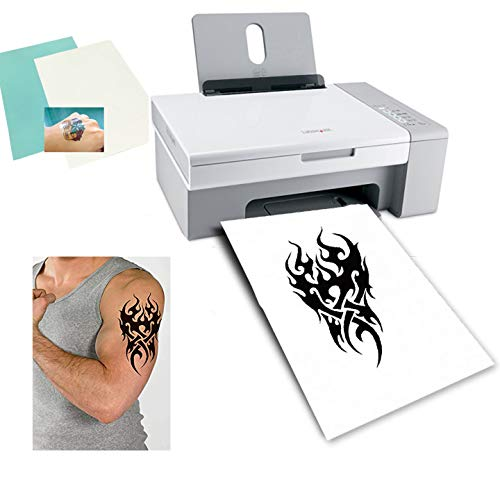Cubic Coating Temporäres Tattoo Papier A4 Größe (210x297mm) DIY Tattoo Folie Zum Bedrucken Transfer Decal Papier für Tintenstrahldrucker (Transparent, 5)