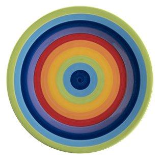 Windhorse Plato lateral de cerámica de 18 cm, diseño de rayas arcoíris (1 plato)