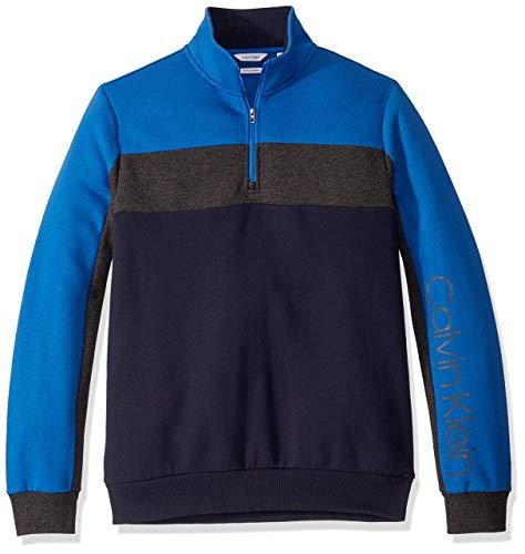 Calvin Klein Men's Classic Quarter Zip Sweater, Navy, Large