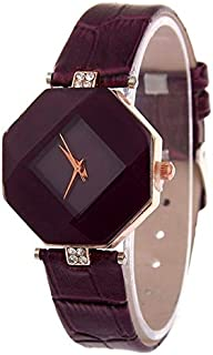Perfect Home Modern Simplicity Gem Cut Geometry Crystal Leather Quartz Wristwatch Fashion Watch for Ladies Fashion (Color : Purple)
