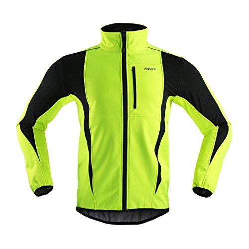 GWELL Herren Fahrradjacke Wasserdicht Winddicht Winter Herbst Softhelljacke mit warm Fleece-Innenfutter Visible reflektierend gelb L