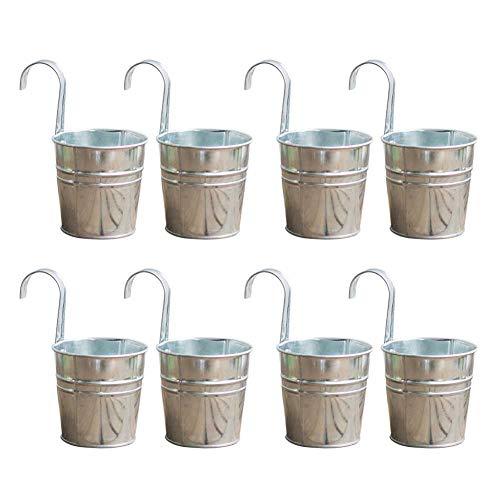 Modonghua Eisen-Eimer-Übertopf, 8 Stück, für Geländer, universeller Balkonzaun, silberner hängender Blumentopf, für Innen- und Außenbereich, Mehrzweck-Garten, rostfrei, mit Haken, Heimdekoration