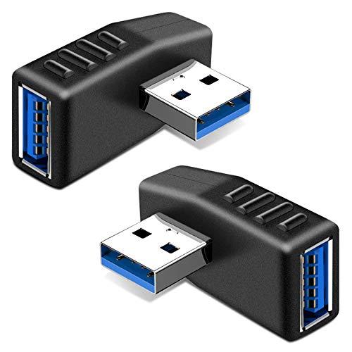 KIMILAR 2-tlg USB 3,0 Adapter rechtwinklig und linken Winkel-Stecker/Buchse USB Winkelstecker Connector-Extender Stecker Kupplung 2ST (einschließlich der linken und rechten Winkel-Adapter)
