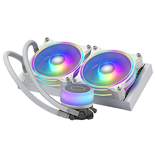Cooler Master MasterLiquid ML240 Illusion White Edition CPU-Flüssigkeitskühler - AIO-Wasserkühlungssystem, 2 x 120-mm-ARGB-Halo-Lüfter, 240-mm-Radiator, inkl. ARGB-Controller - AMD & Intel kompatibel