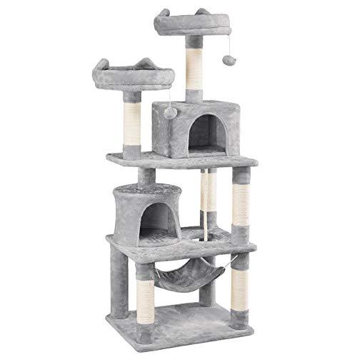 Yaheetech Rascador para Gatos Grandes Arbol para Gatos de 158 cm Torre de Gatos Casita Juego para Mascota Gris Claro